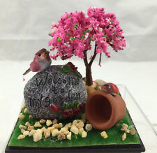 Miniature Garden or home decoration set in a display case- Welcome to my Garden
