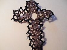 Tatted Cross Bookmarks Brown & Black Gift Bible Tatting By Dove Country