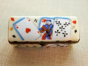 CHANILLE LIMOGES France Porcelain Hinged Trinket Box, Hand Painted Playing Cards