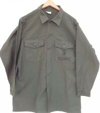 Vintage Military USMC Stenciled Drab Olive Green Shirt  Size 16 1/2 X 32