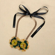 MARNI BEAUTIFUL DUAL  GOLD FLOWER HORN NECKLACE – NEW DUSTBAG