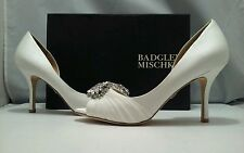 Badgley Mischka Pearson Vanilla Satin Women' Dressy Evening Heel Pumps Size 8 W