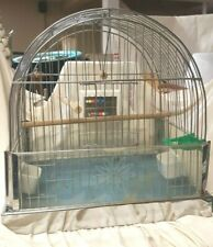 Made In Germany U.S. Zone Vintage Chrome Bird Cage Perch Plus Swing, Panels