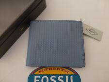 Fossil protegido RFID Cartera Jaron Tri-Fold V. Azul Cuero Billeteras En Estaño RP £ 45
