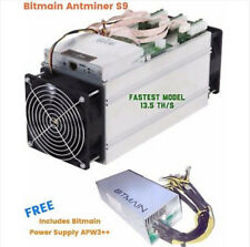 Bitmain AntMiner S9 13.5THs+- with free Power supply APW3++ / From USA.