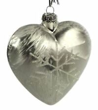 Glass Heart With Snowflake Set Of 2 Xmas Christmas Decoration
