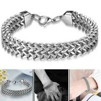 Men's Stainless Steel Bracelet Biker Curb Chain Link Bangle Silver 6mm