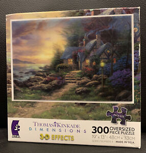 THOMAS KINKADE Dimensions 3-D Effects Seaside Hideaway 300 Oversized Piece Ceaco