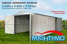 Garden Shed, 3.4(W)x3.4(D)x2.5(H)m, Workshop, Storage, Garage, Double & PA Door