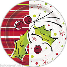 """8 Christmas Party Stylish Holly Berries Disposable Large 9"""" Paper Dinner Plates"""