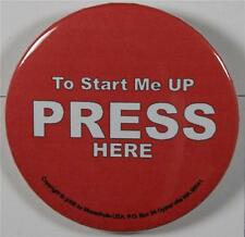 #08053 Pinback Button Press Here, to start me up