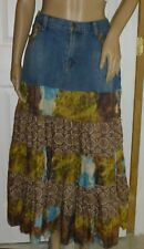 Outfit Brand Women's Skirt  Boho Hippy Denim & Layered Prints  EU 44