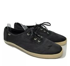 Keds Womens Black Satin Lace Up Low Top Athletic Sneaker Shoes Size 10