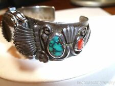 Old Pawn J&J Clarck Turquoise Watch Cuff Bracelet Blue Navajo Sterling Red Coral
