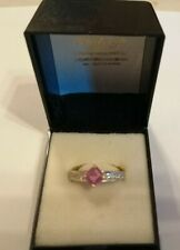 1976 18ct two colour gold, pink sapphire and diamond ring - size M - 5 gms