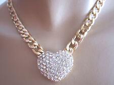 Damen Hals Kette Collier Modekette kurz Strass Gold 3D Herz Bling Bling Edel n71