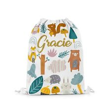 Personalised Cute Woodland Animal Drawstring Bag Kids PE Swimming School Bag #48