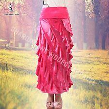 SHARON TANG Modest Apparel Stretch Velvet Layer Ruffle Skirt M ST132080104-10