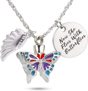 Butterfly Urn Necklace Ashes Holder Cremation Jewelry Keepsake Memorial Pendant