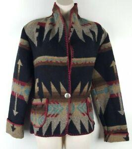 VTG RHONDA STARK Women's Southwestern Jacket Size Small Wool Blend Pockets EUC