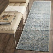 FORTUNA SILVER BLUE AZTEC MEDALLION ANTIQUE TRADITIONAL RUG RUNNER 80x400cm *NEW