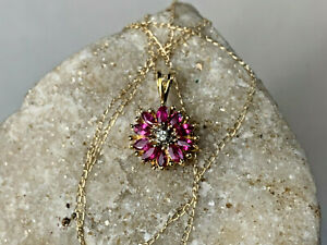 """14K Yellow Gold Ruby? Gem Diamond? Accent Floral Pendant 18"""" Chain 1.97g Jewelry"""