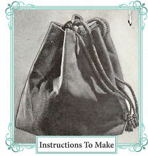 Vintage sewing pattern-How to make a 1940s drawstring sectional hand bag