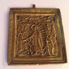 Russian Orthodox Bronze Icon Plaque Resurrection XIXc Rare