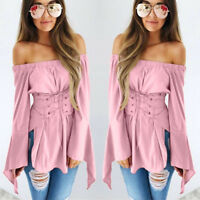 Women Sexy Flare Long Sleeve Long Shirt Off Shoulder Lace Up Slim Tops Blouse