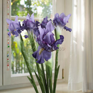 1/5x Artificial Fake Iris Flowers Plant Branch Bouquet Real Touch Home Wedding