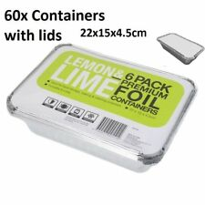 60 x Foil Food Container Tray and Lid Oven Roasting BBQ Dish Takeaway