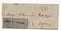 ANTICHI STATI PARMA 1852 STRISCIA ORIZZONTALE DI 3 10 cent. bianco