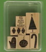 Stampin' Up! 2003 Sparkling Season Christmas Wood Rubber Stamp Set 6 w/Paper