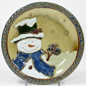 """St. Nicholas Square FOREST FRIENDS 6.75"""" App Plate Snowman Portrait Blue Scarf"""