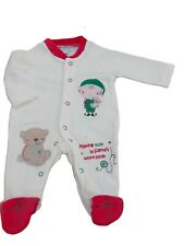 BNWT Tiny Baby unisex Christmas velour all in one sleepsuit Clothes NB 0-3M 3-6