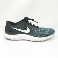Nike Womens Flex Contact 908995-004 Black Aqua Running Shoes Lace Up Size 9