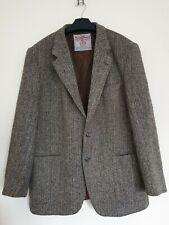 Harris Tweed Mens Hand Woven Pure Wool Jacket Herringbone Brown Size Medium