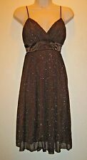 Womens Hot Kiss Dress Size M Spaghetti Strap Brown Gold Party Evening Cocktail