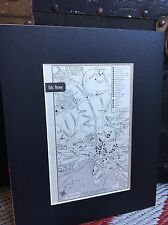 City Map of Oslo, Norway 1958 Mid Century Black Matted 8x10 Art Print travel