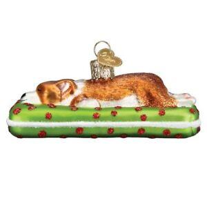 Old World Christmas Sleepy Corgi Glass Ornament FREE BOX 12598