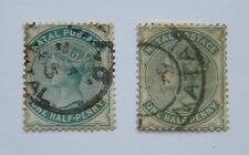 Natal 1880-1889 1/2d Pair. Bluish Green & Grey Green. Used.
