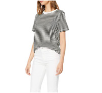 SELECTED FEMME Women's Slfmy Perfect Ss Tee Box Cut-STRI. Noos T-Shirt Black S