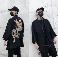 Men  Fashion Japanese Kimono Cardigan Chinese Dragon Jacket Coat Tops Outwear