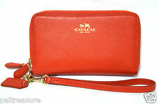 COACH CROSSGRAIN LEATHER WRISTLET DOUBLE ZIP WALLET CARDINAL PHONE CASE F53141