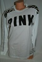 Victoria's Secret PINK Campus Long Sleeve Tee White Animal Black Logo Shirt S