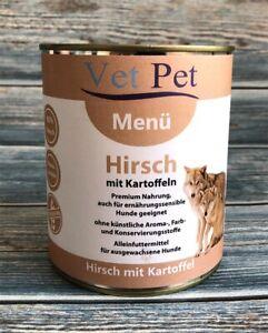 Vet Pet Hirsch mit Kartoffel 6 x 800 g - Hundefutter Nassfutter getreidefrei NEU