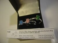 BEAUTIFUL THREE SOLID SILVER RINGS GENUINE FINE BLUE , PINK & GREEN JADE SIZE O