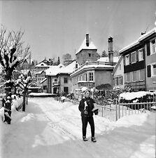 AUTRICHE c. 1960 - Jeune Garçon Patins à Glace Feldkirch- Négatif 6 x 6 - Aut 23