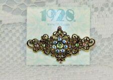 Flower Design Oblong Jewelry Pin/Brooch 1928 Light Blue Flower Multi Rhinestones