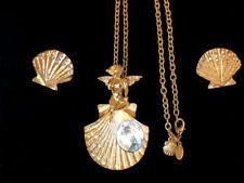 KIRKS FOLLY CHERUB SEASHELL AB RHINESTONE NECKLACE PENDANT BROOCH EARRINGS GOLD